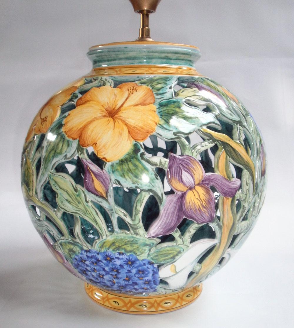 Pied de lampe boule ajouré Flore