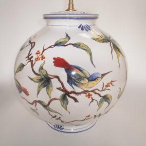 Pied de lampe faïence Oiseaux