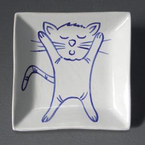 Vide-poche chat bleu 02
