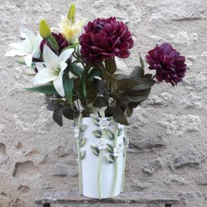 Vase évasé fleurs polychrome G Nouri