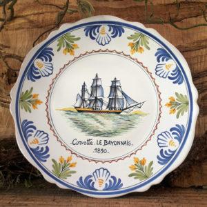 Assiette bateau Corvette Le Bayonnais