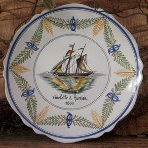 Assiette bateau Goélette à hunier