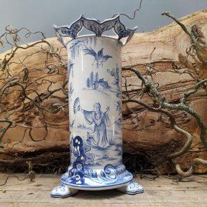Vase sur pieds griffes Chinois bleu